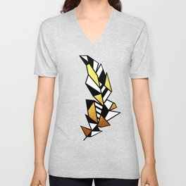 Gold Feather Design Unisex V-Neck