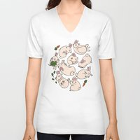 rabbits V-neck T-shirts featuring Rabbits by Marie-Ève Cardinal