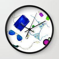 ysl Wall Clocks featuring Blue Flat lay  by Koma Art