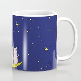 happy pair of pigs in love on the moon Coffee Mug