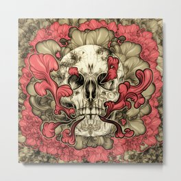 Tattooed Skull Metal Print