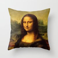 mona lisa Throw Pillows featuring Mona Lisa by Elegant Chaos Gallery