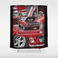 mustang Shower Curtains featuring 1966 Mustang  by Andrew Sliwinski
