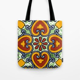 Talavera Mexican tile inspired bold design in green, gold, red and blue Tote Bag