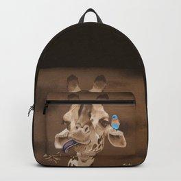 Giraffe with Bird Backpack