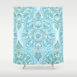 Turquoise Blue, Teal & White Protea Doodle Pattern Shower Curtain