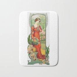 Vintage Art Nouveau Painting - Brunette with Florals Bath Mat