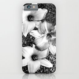 White Lilies on Black Glitter #1 #floral #decor #art #society6 iPhone Case
