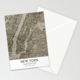 Warm Putty Beige Decor, Manhattan New York City, Antique Vintage Map Stationery Cards
