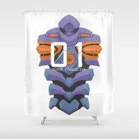 evangelion Shower Curtains featuring EVANGELION ANIMA UNIT 01 BACK by F4LLEN_LEAF