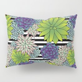 Succulents on Black and White Stripes Pillow Sham