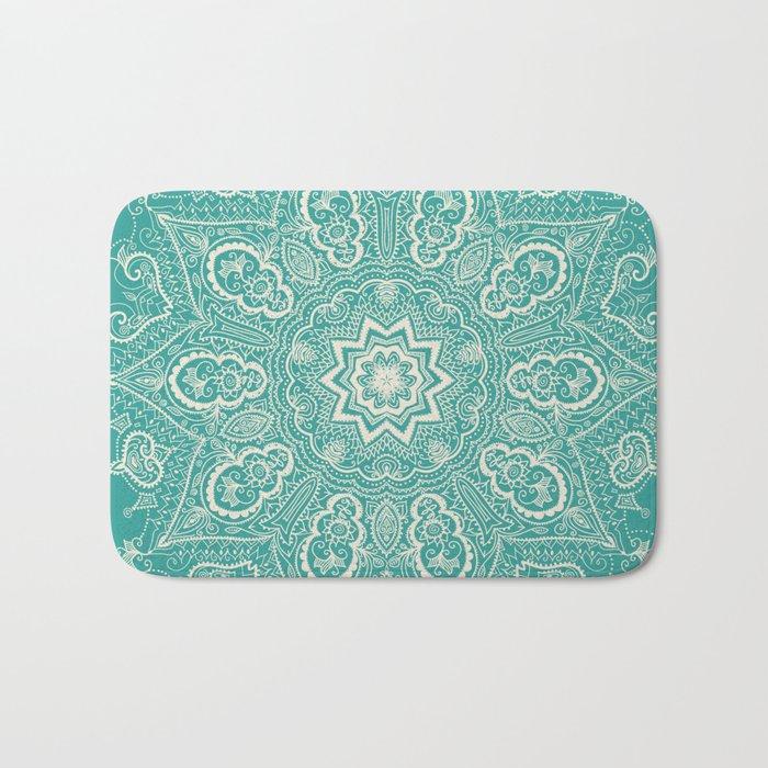 Teal and Lace Mandala Bath Mat