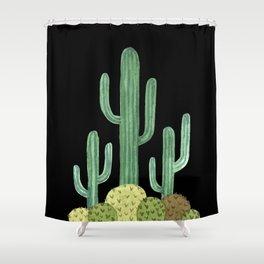 Desert Cacti on Black Shower Curtain