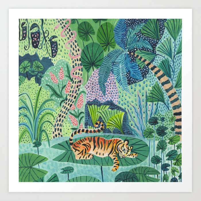 Jungle Tiger Art Print By Amberstextiles Society6