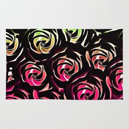 rose pattern texture abstract background in pink and green Rug