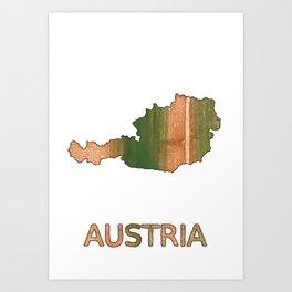 Austria map Art Print