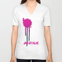 justice league V-neck T-shirts featuring JUSTICE by TheCore
