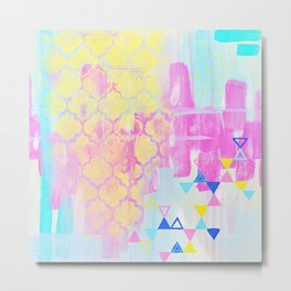 Abstract Mix - Lemon Yellow, Magenta & Turquoise Metal Print
