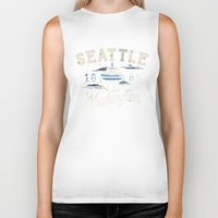 seattle Biker Tanks featuring Seattle by NWHRLND