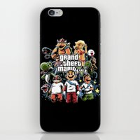 grand theft auto iPhone & iPod Skins featuring Grand Theft Mario by Fuacka