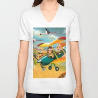 africa V-neck T-shirts featuring Africa by colortown