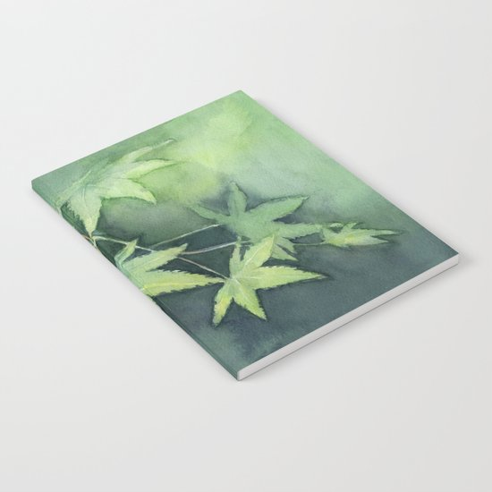 Japanese Maple Watercolor, Green Leaves, Tree Branch Notebook