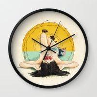 oklahoma Wall Clocks featuring Miss Oklahoma by keith p. rein