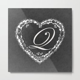 Q Vintage Valentine Chalkboard Metal Print
