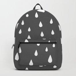 White Raindrops pattern on Dark Grey background Backpack