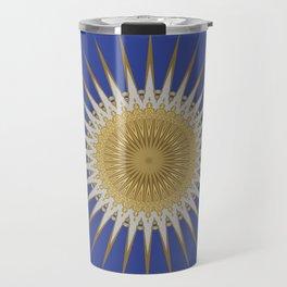 Bright Blue Gold Star Mandala Travel Mug