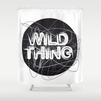 the thing Shower Curtains featuring Wild Thing by feigenherz BAM