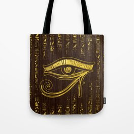 Golden Egyptian Eye of Horus  and hieroglyphics on wood Tote Bag