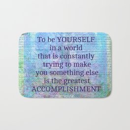 Emerson individuality quote Bath Mat