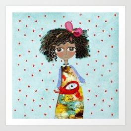 Red Bird Pet Doll Grungy Polka Dots Art Print