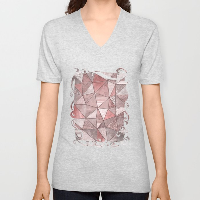Soft Pink Coral Glamour Gemstone Triangles Unisex V-Neck