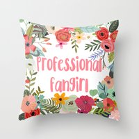 fangirl Throw Pillows featuring Professional Fangirl by Meleika