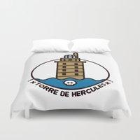 hercules Duvet Covers featuring Torre de Hercules by DamianVF