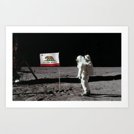 California Republic Flag on the Moon Art Print