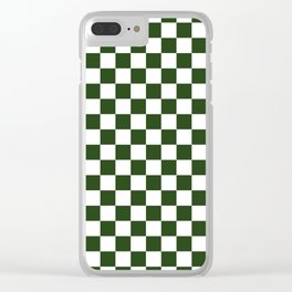 Large Dark Forest Green and White Check Squares Clear iPhone Case