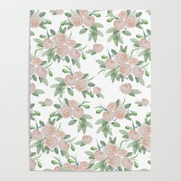Watercolor blush coral pink forest green floral Poster