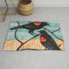 Red Winged Blackbirds in Marsh Rug