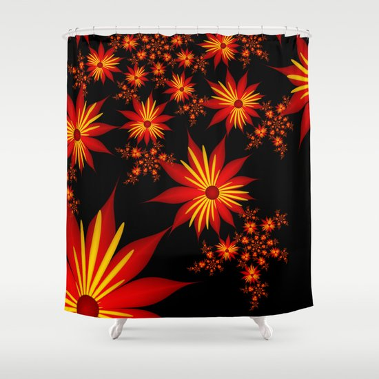 Red And Yellow Flowers On Black Background Shower Curtain By Gabiw Art Society6