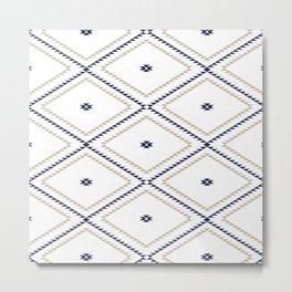 Navajo Pattern - Tan / Navy / White Metal Print