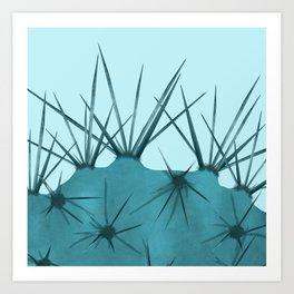 Teal Cactus Close-up Design Art Print