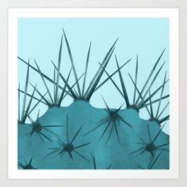 Teal Cactus Close-up Design Art Print
