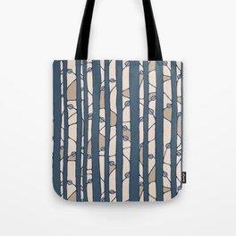 Into The Woods blue cream Tote Bag