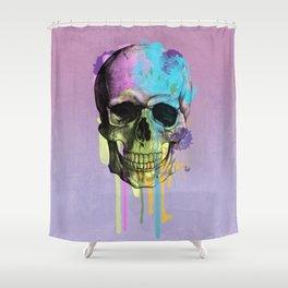 skull in purple Shower Curtain