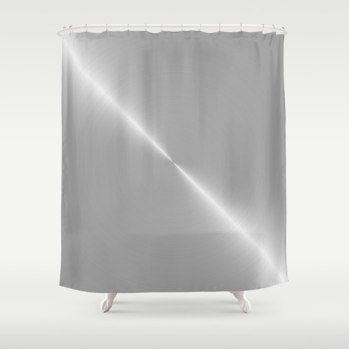 Silver Platinum Bright White Gold Shower Curtain By Podartist
