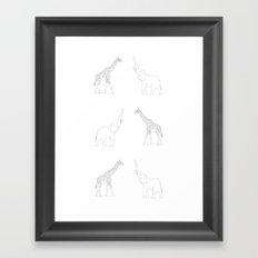 Giraffe And Elephant With Big Icon Framed Art Print