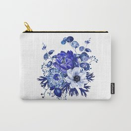 China Blue Porcelain, Asia, Peony, Flower, Floral, Cyan Carry-All Pouch